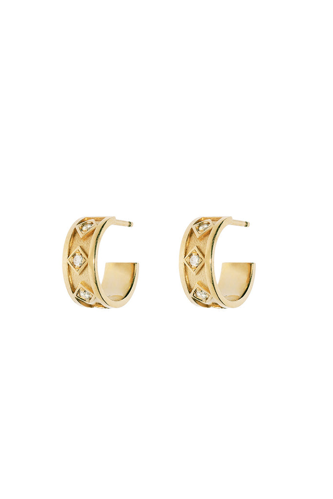 Sky Small Diamond Hoops, Gold