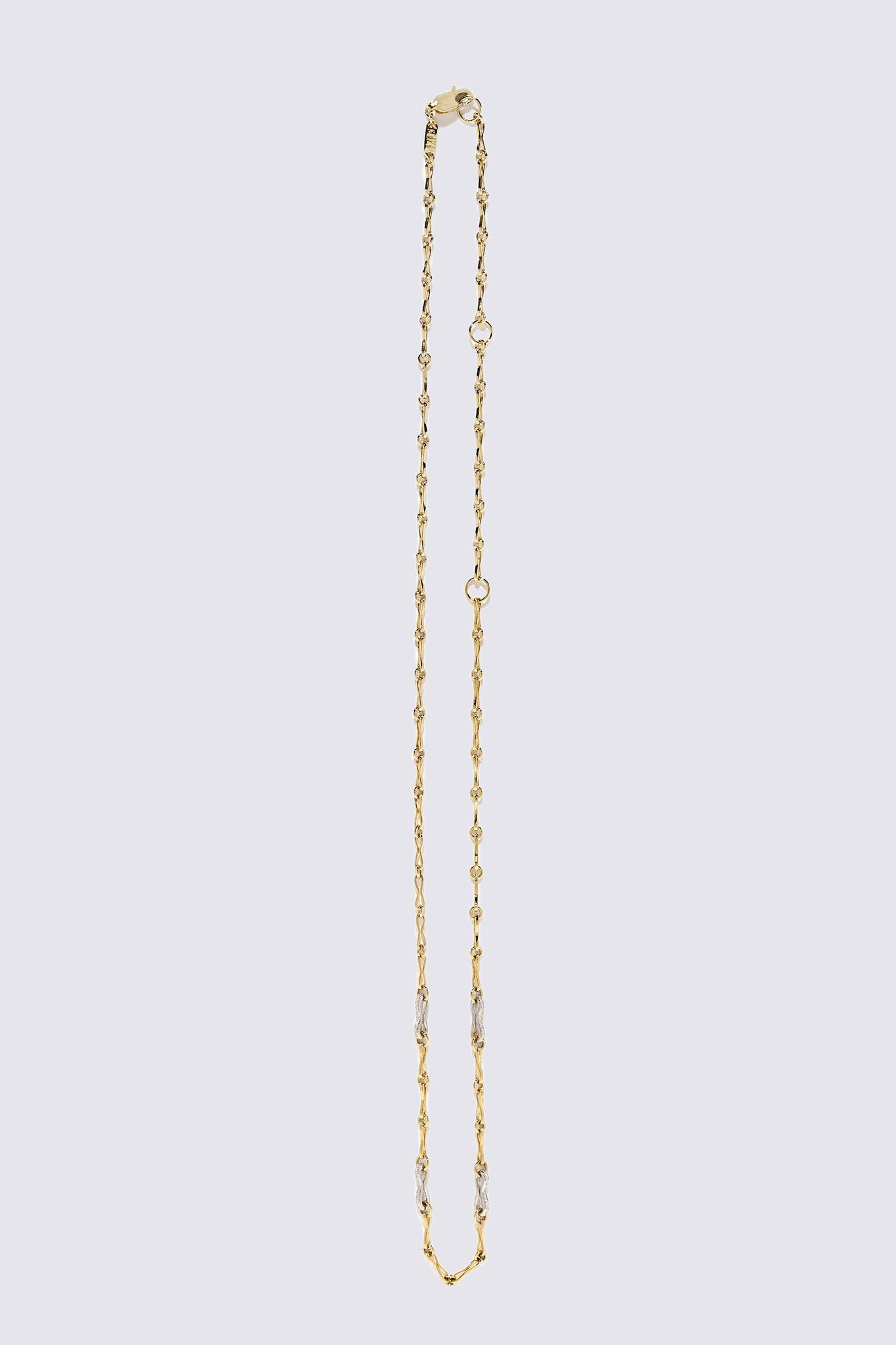 AZLEE - Small Circle Link Chain with Pave Links, Gold