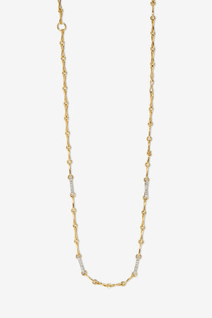 Small Circle Link Chain with Pave Links, Gold