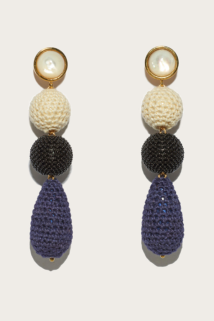 Siesta Earrings, Navy/Cream/Black by Lizzie Fortunato