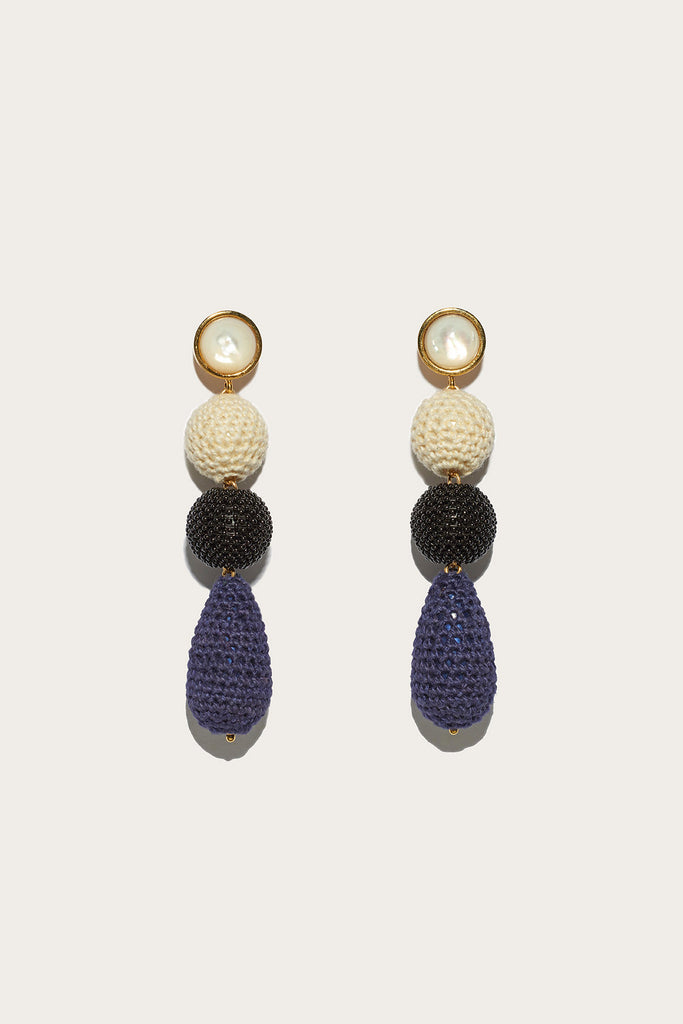 Siesta earrings, Navy/Cream/Black