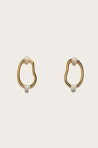 Twin pearl hoops, Gold/Pearl