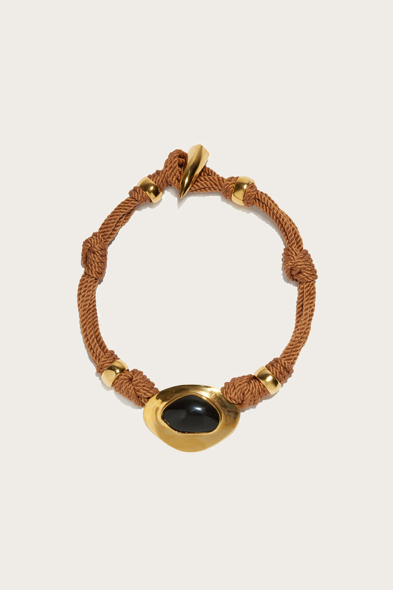 Agate Treasure Necklace, Gold/Brass/Black Agate by Lizzie Fortunato