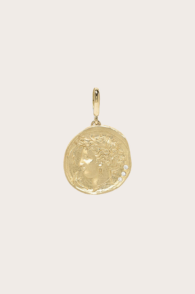 Azlee - Goddess Small Diamond Coin Charm, Gold