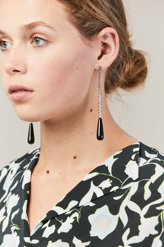 Demi Onyx Cocktail Earrings, Silver