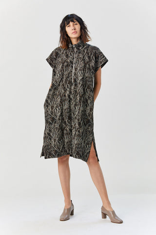Cedar Dress, Brown Print