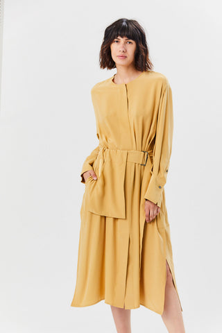 Silk Satin Belted Shirt Dress, Desert