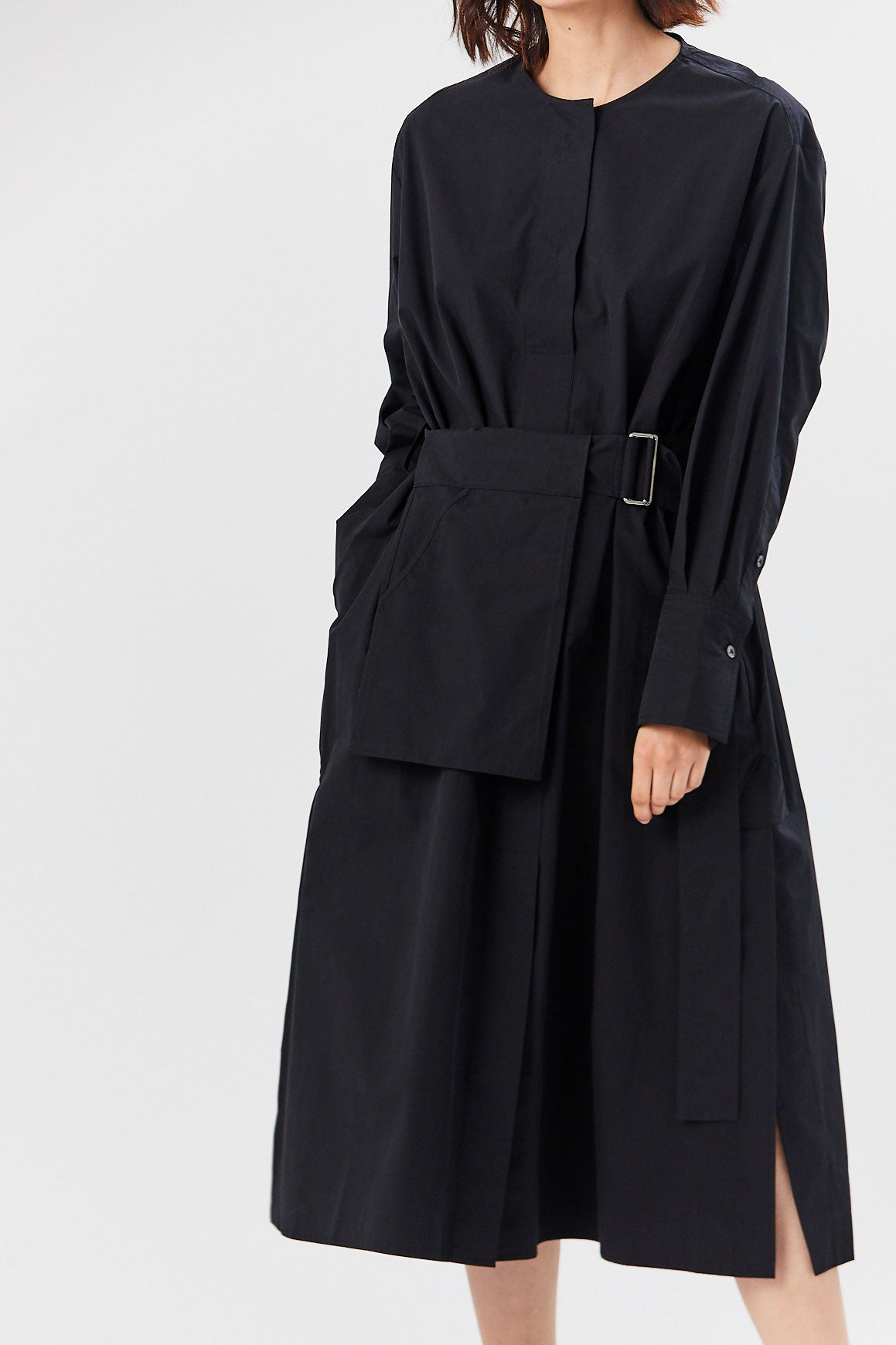 Studio Nicholson - Powder Cotton Belted Shirt Dress, Black