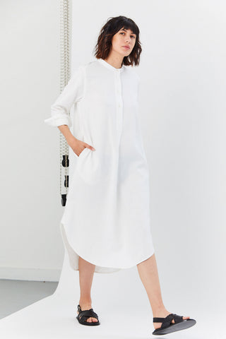 Gauzy Linen Shirt Dress, White