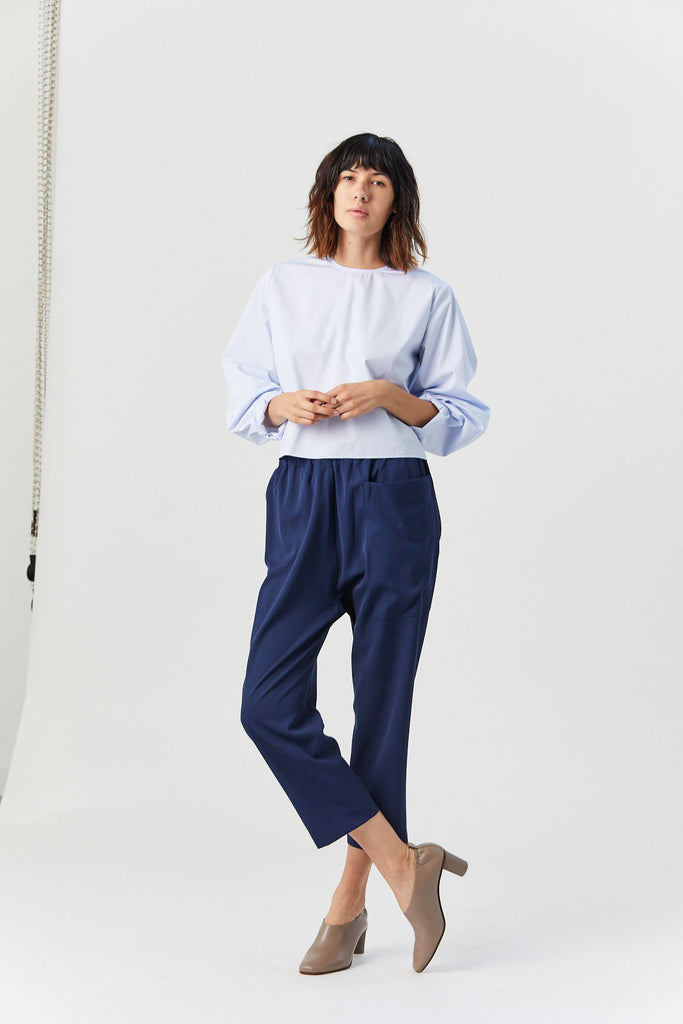 Studio Nicholson - Perche Short Top, Fine Blue Stripe