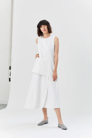 Mannes Sleeveless Dress, White