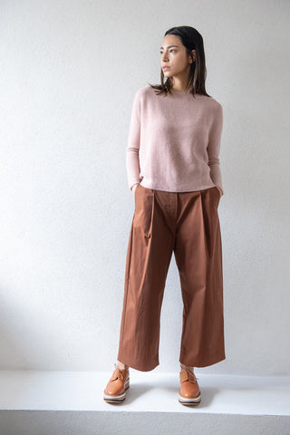 DORDONI volume pleat pants, truffle