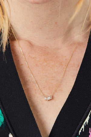 Small Zigzag Bar Necklace, Gold