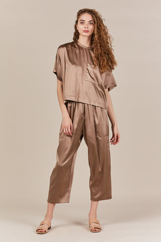 Oversize tee with pocket, taupe