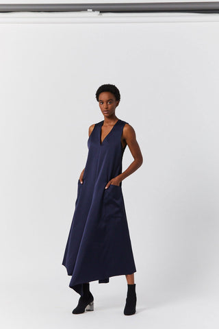 Back Belt Dress, Navy