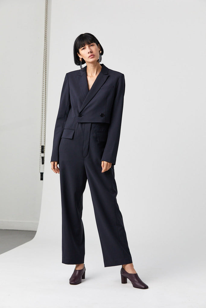 Tablier Plainweave Blazer Jumpsuit, Dark Navy