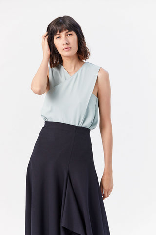 Chalky Drape Front Wrap Top, Ash Green