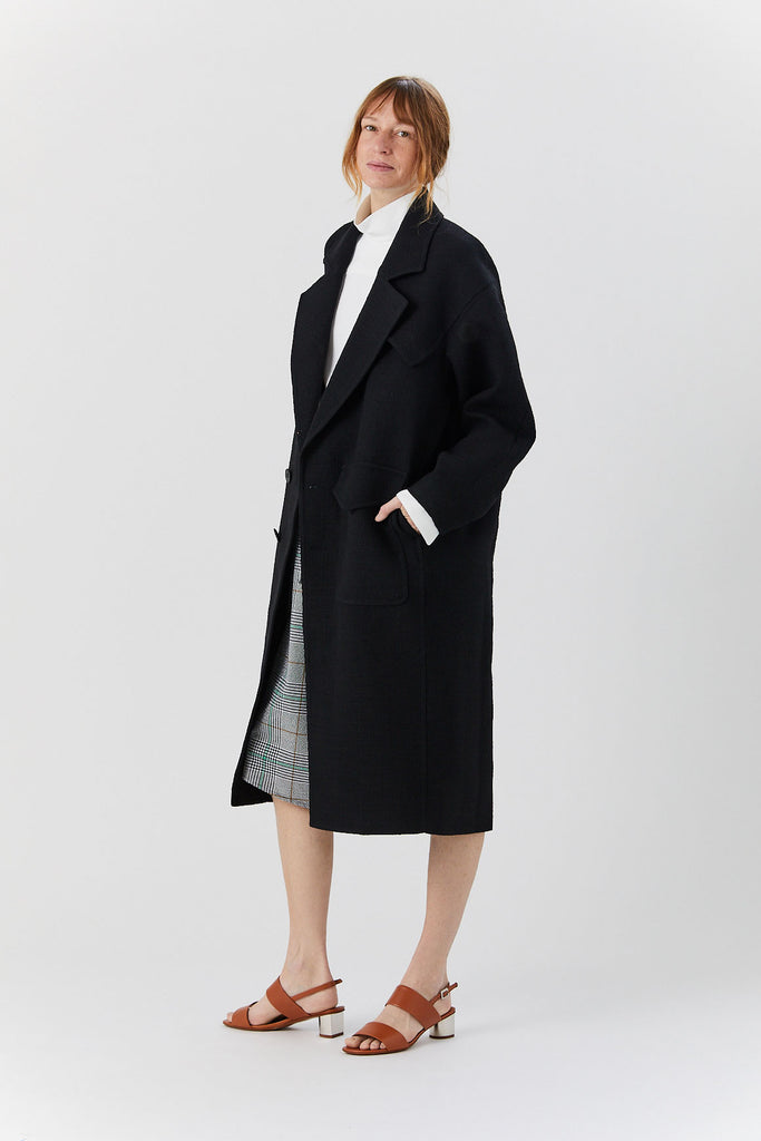 TIBI - Cocoon Shape Maxi Coat, Black