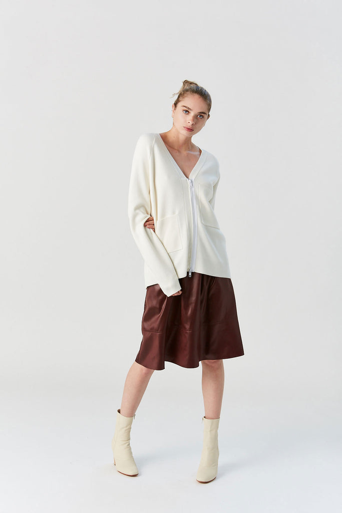 Compact Wool Blend Cardigan, Ivory