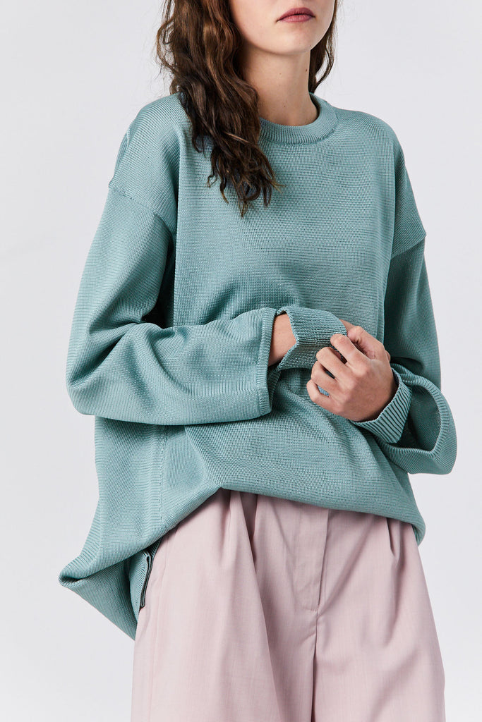 Corded Poly Oversized Tunic Sweater, Ash Green