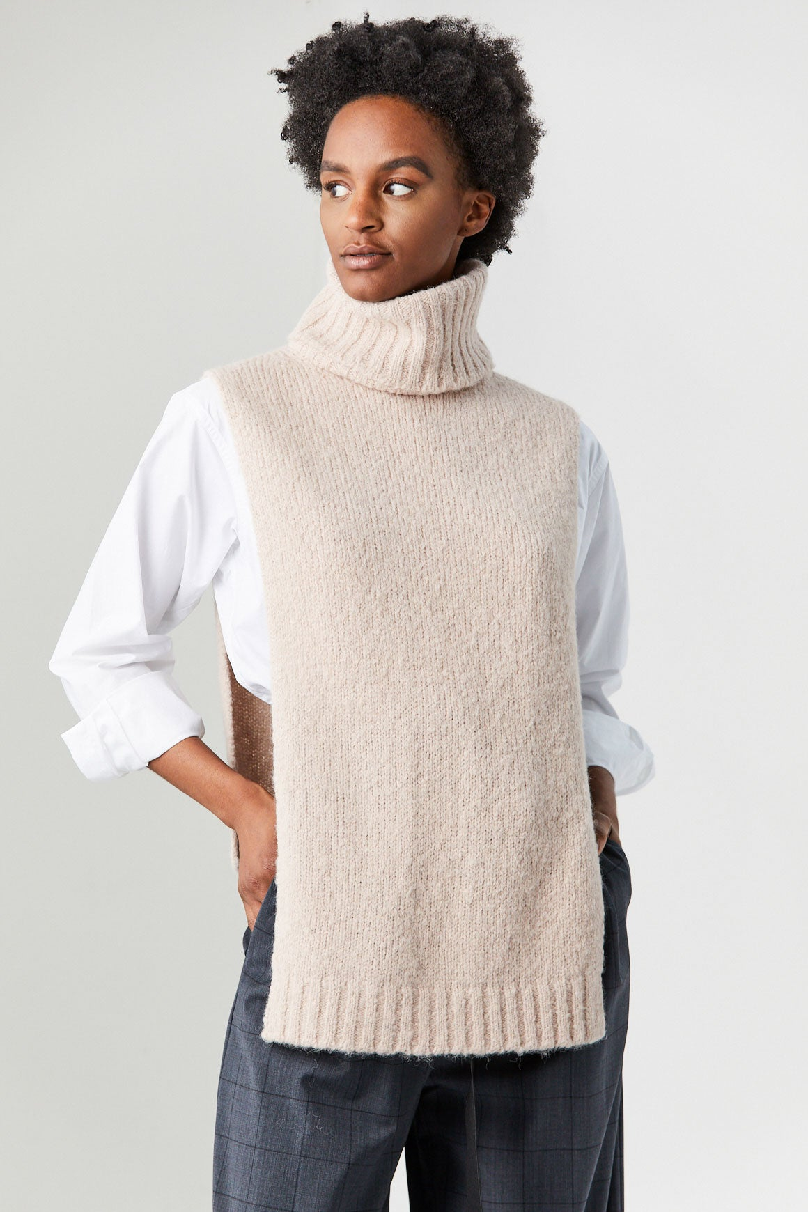TIBI - Cozette Alpaca Turtleneck, Light Burley