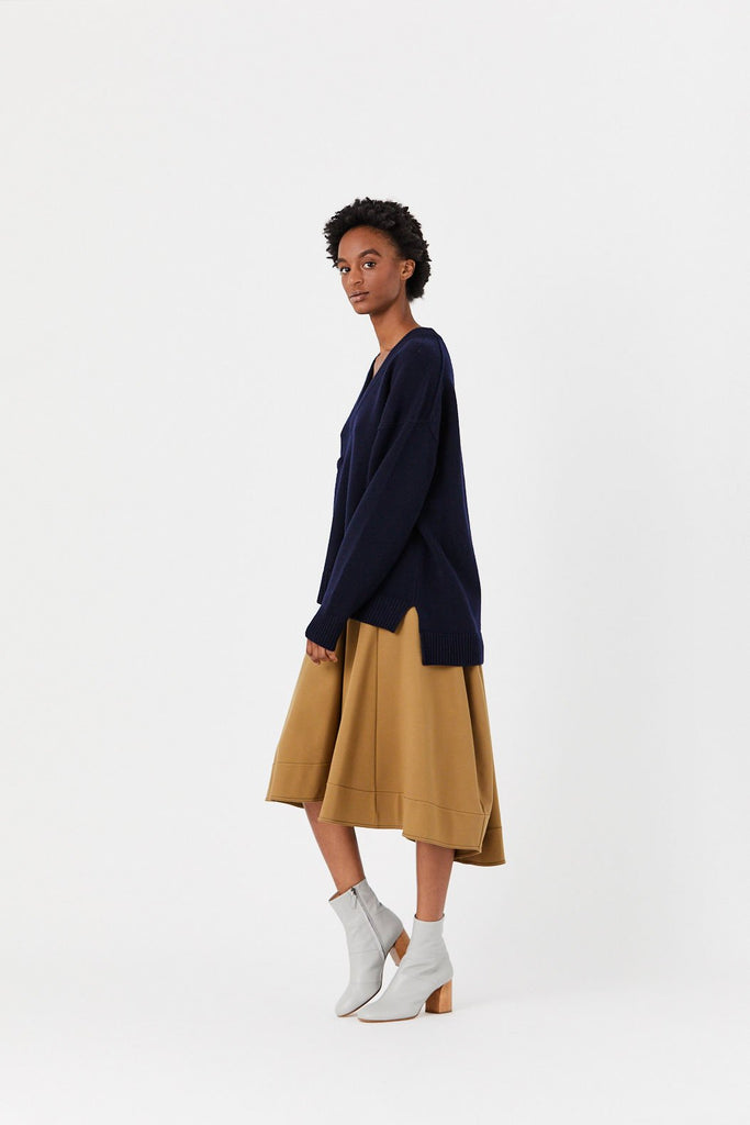 Tibi - Deep V Neck Oversized Pullover, Navy