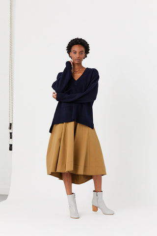 Deep V Neck Oversized Pullover, Navy