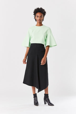 Chalky Drape Ruffle Sleeve Top, Mint