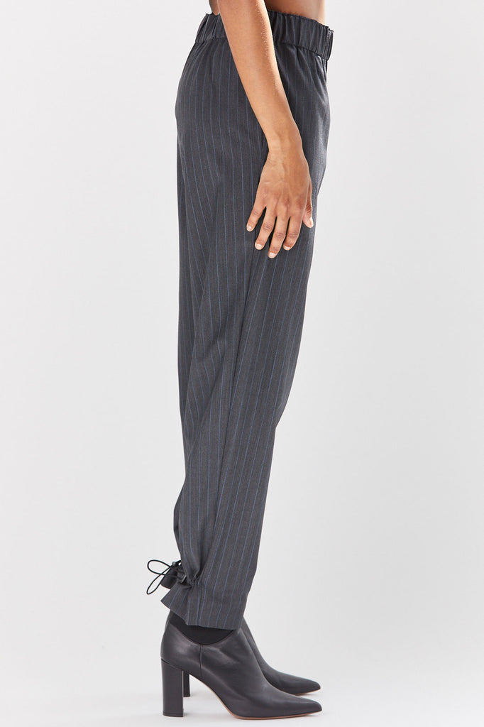 TIBI - Easy Pull On Pinstripe Pants, Grey