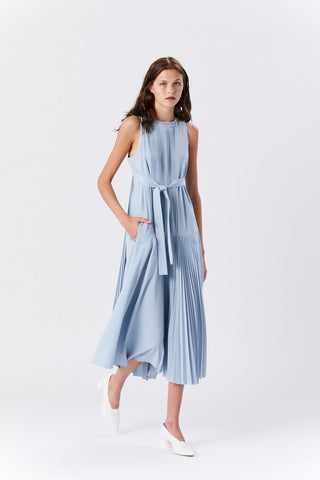 Edith Pleating Dress, Light Blue