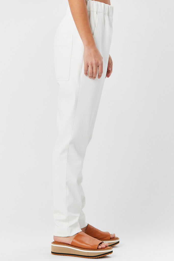 TIBI - Faux Leather Pull on Pant, White