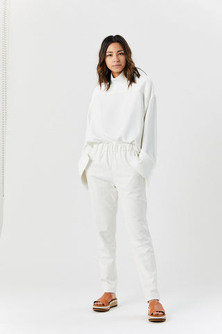 Faux Leather Pull on Pant, White