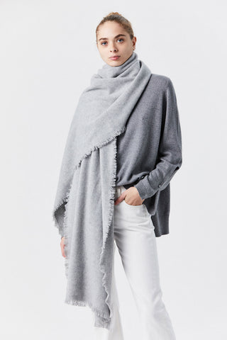 Fringe Scarf, Heather Grey