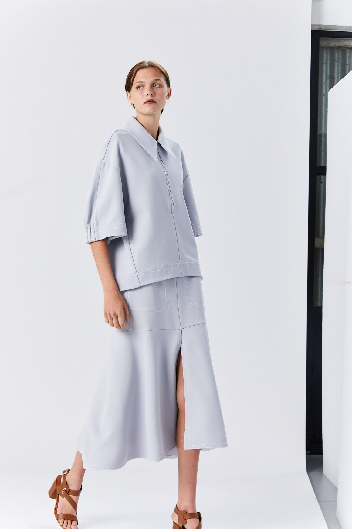 Tibi - Frisse Sculpted Polo, Storm Grey