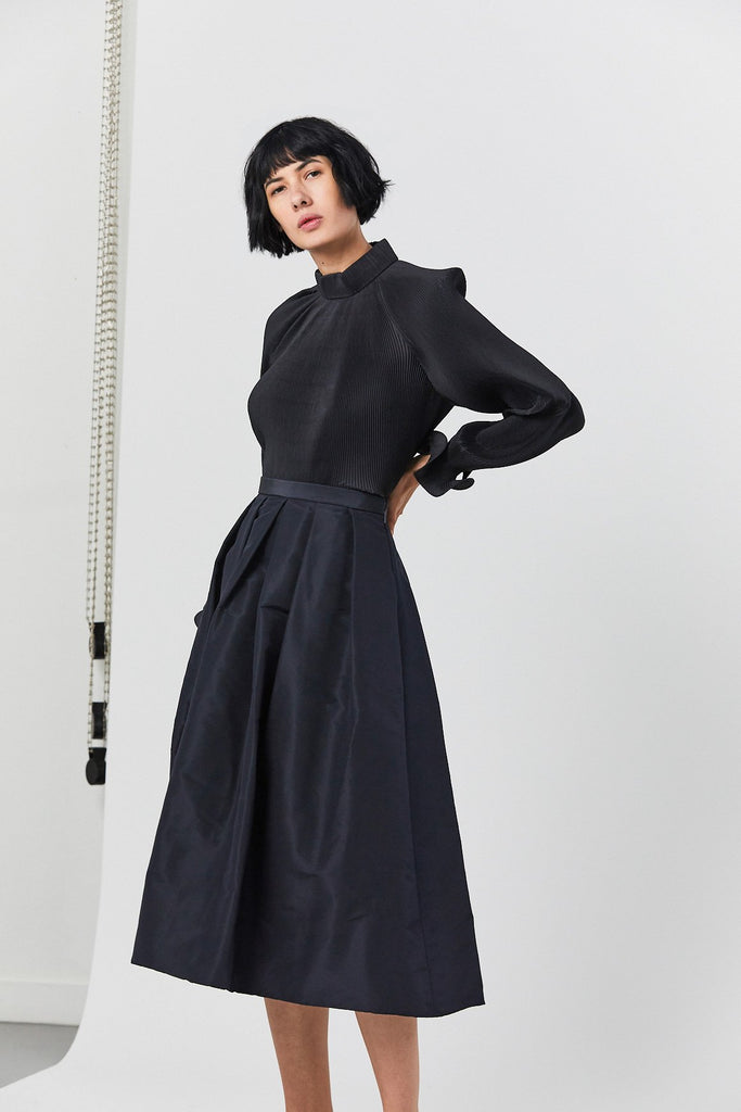 Silk Faille Full Skirt, Dark Navy