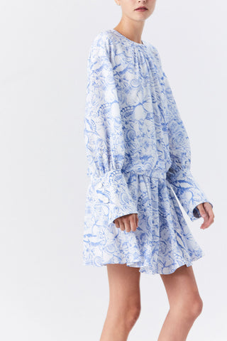 Isa Toile Short Shirt Dress, White/Blue Multi