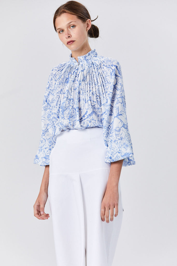 Isa Toile Cropped Edwardian Top, White/Blue Multi