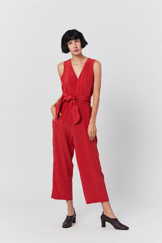 Belted Jumpsuit, Red
