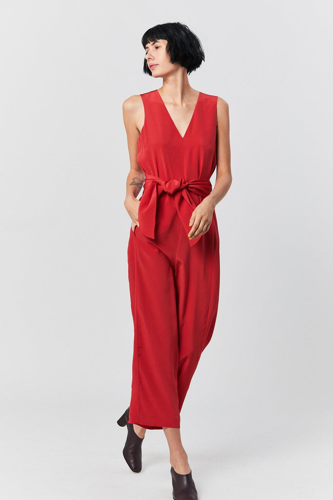 Tibi - Belted Jumpsuit, Red