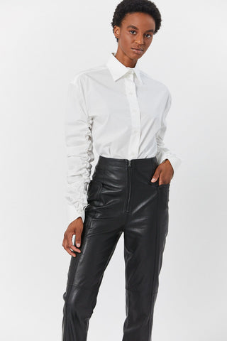 Leather Highwaisted Pants, Black