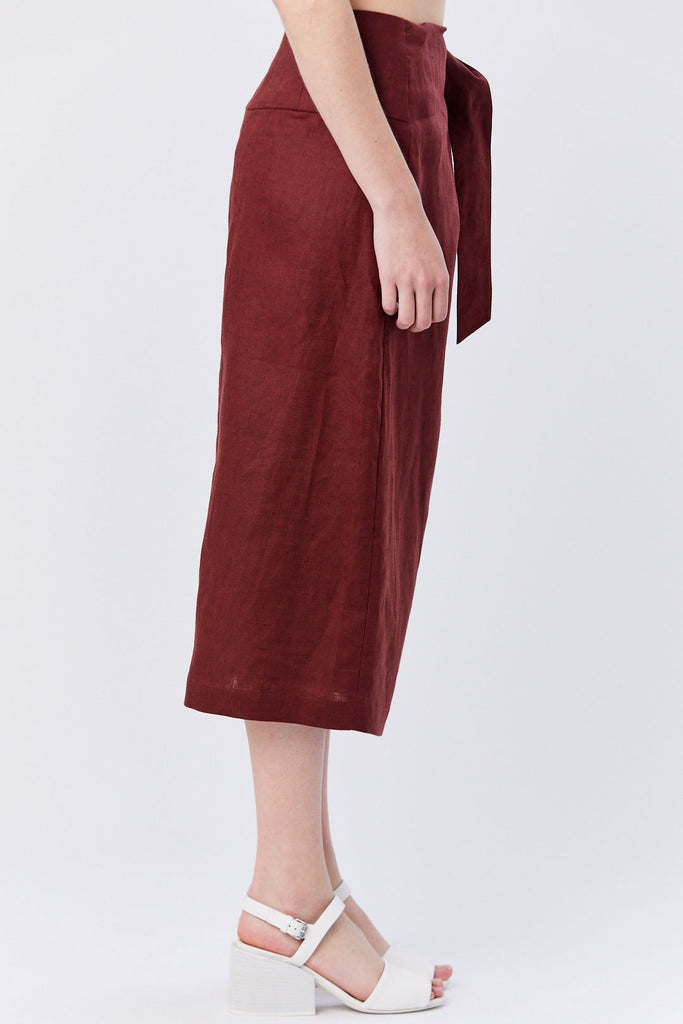 Tibi - Linen Canvas Wrap Skirt, Burgundy