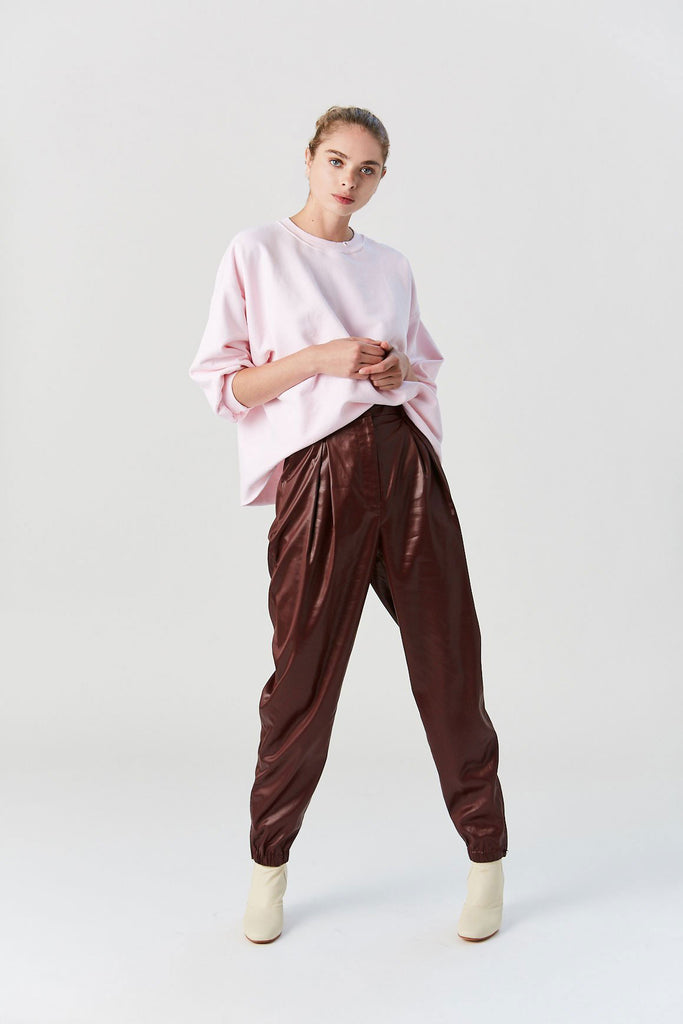 Liquid Drape Pleated Pants, Burgundy