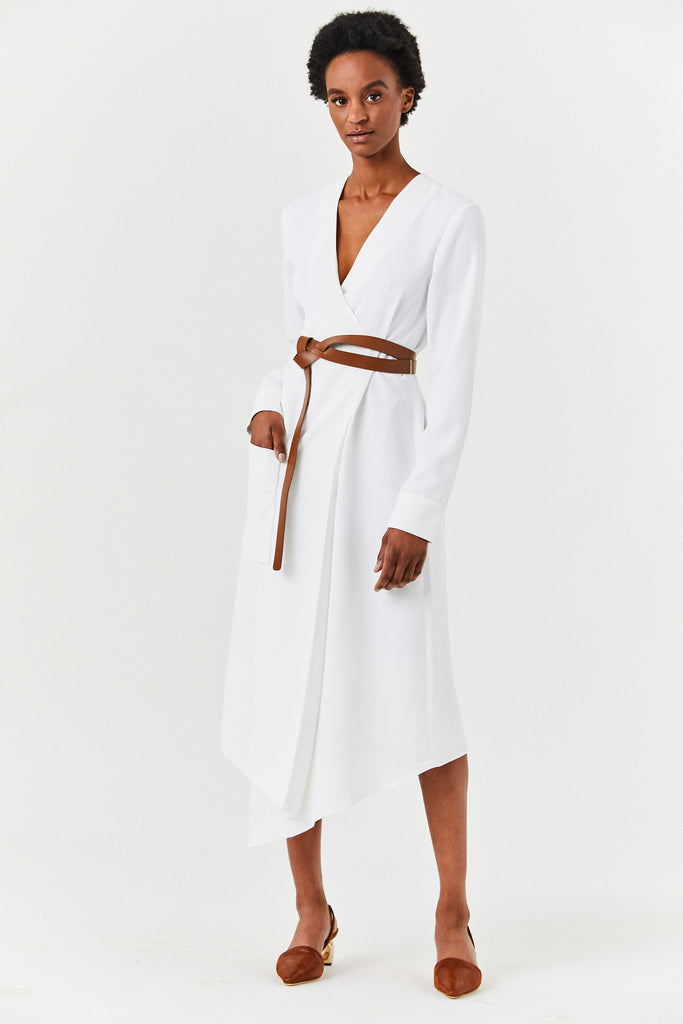Midi Wrap Dress, White
