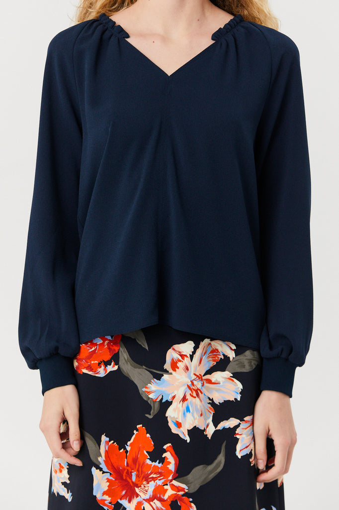 Tibi - Split Neck Ruffle Top, Navy