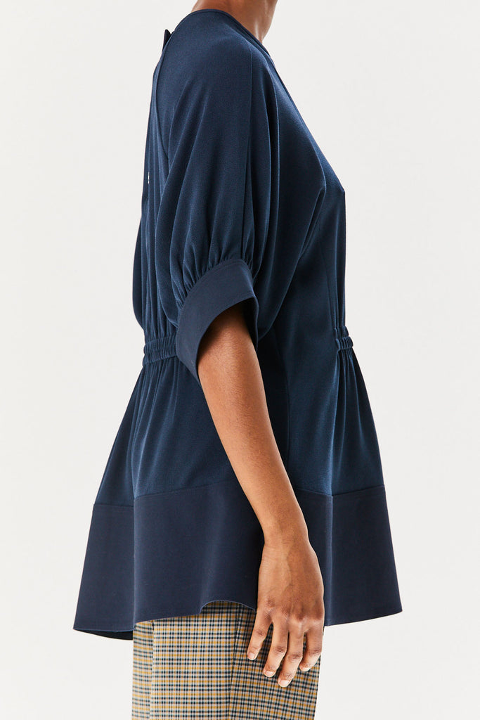 TIBI - Paneled Shirred Top, Navy