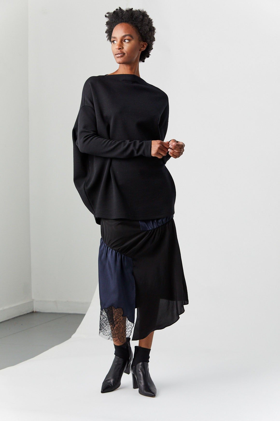 TIBI - Patchwork Silk Skirt, Black & Navy