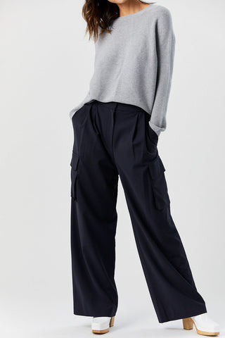Pleated Cargo Pant, Navy