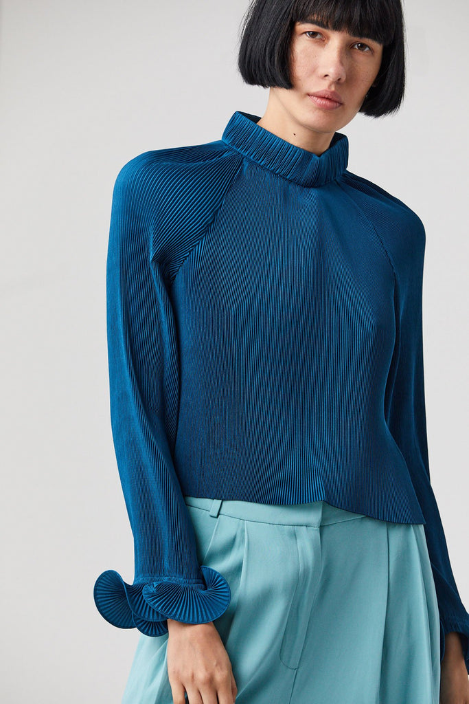 Pleated Cropped Top, Teal