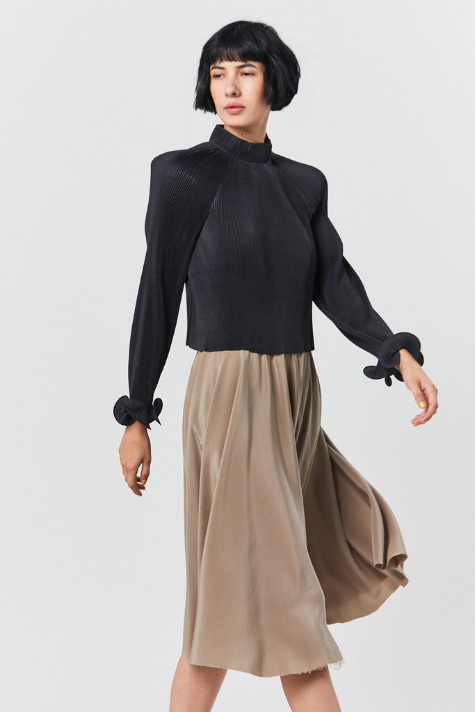 Pleated Cropped Top, Black