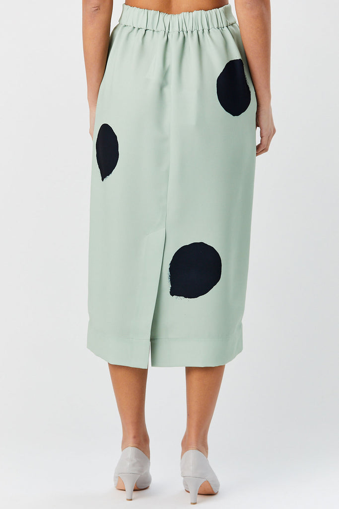 TIBI - Polka Dot Printed Skirt, Pistachio & Black